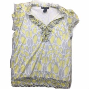 Inc International Concepts Ruffle Yellow &Gray Top
